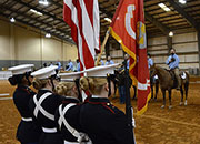 Marine JROTC Color Guard from Germantown High School, Germantown, Miss., present the colors.