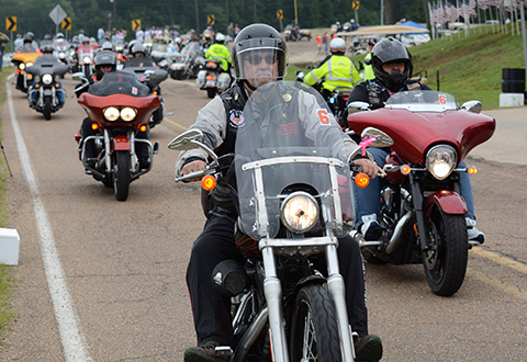 More than 300 bikers, from across the United States, gather during the final day of the Trail of Honor. The bikers will then continue their journey to Washington, D.C., and join thousands of others, in Rolling Thunder 2017.