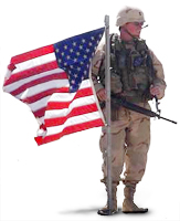 Picture of soldier holding American flag.